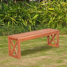 Walker Edison Furniture Company Acacia Wood X-Frame Patio Bench in Brown