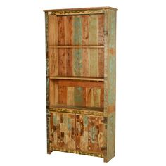 Spring Forest Reclaimed Wood 78.5 Tall Open Bookcase w Cabinet