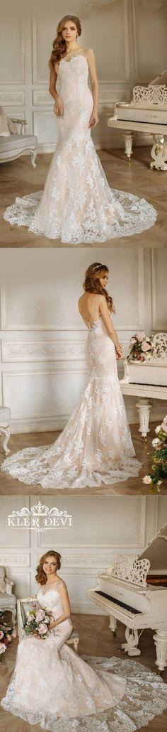 illusion neckline lace long wedding dress