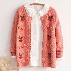 Sweet Cherry Fruit Mori Girl Knitted Cardigan