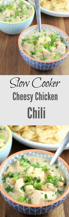 Slow Cooker Cheesy Chicken Chili Recipe found at  Miss in the Kitchen
