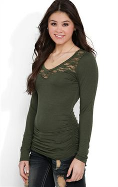 Deb Shops Long Sleeve Top with Ruched Sides and Lace Yoke and Neckline $9.03