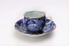 福泉窯 染付宝尽くし 花びら型コーヒー碗皿 画像メイン