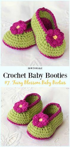 Crochet Fairy Blossom Baby Booties Free Pattern - Baby #Booties; Free #Crochet; Patterns