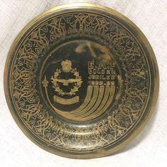 Egyptian Air Force Golden Jubilee Brass Souvenir Plate 5.25in 1932 to 1982 VTG