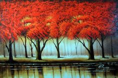 forest art paintings | Oil Painting Abstract Red Tree Forest Lake Modern Art Wall Decor 24x36