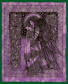 The Blessed Bee: Peace Angel tapestry - purple Celtic Symbols, Celtic Art, Celtic Paganism, Celtic Dragon, Celtic Knots, Celtic Patterns, Celtic Designs, Alphonse Mucha, Celtic Mythology