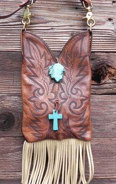 Tan Prairie Leather Dan Post Boot Top Clutch Handbag by tcra466, $70.00