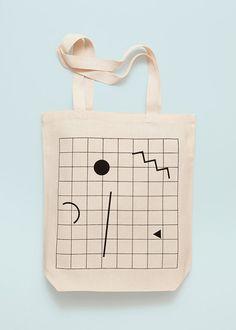 GRID Screen printed canvas fair trade eco tote bag by depeapa