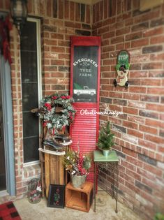 Christmas porch decor | shutter sled, handmade signs decorations chalk couture vintage truck