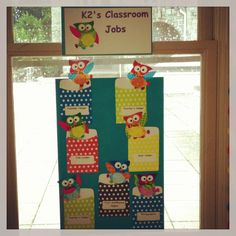 I made owl job chart- super inexpensive and easy to make: craft sticks, pocket envelopes, small owl cut outs glued on construction paper.