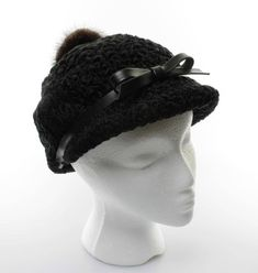 Vintage Hat Women s Black Persian Lamb Cap with Black Leather Band Bow and  Fur Button 0c136dc1133af