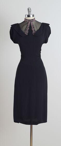 Vintage 1940s Black Pink Beaded Illusion Dress