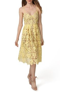 Free shipping and returns on Donna Morgan Spaghetti Strap Lace Midi Dress at Nordstrom.com. Bright piping alluringly accentuates the corset-inspired seaming of a darling sundress cut from sunny floral lace. A peekaboo hem offsets the ladylike midi-length design.