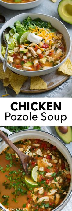 Chicken Pozole Soup - This Mexican soup is hearty, healthy, loaded with fresh goodness and full of exciting flavors. It's very similar to chicken tortilla soup but with added cabbage and hominy. If you like Mexican food you will love this soup! Mexican Food Recipes, Soup Recipes, Chicken Recipes, Dinner Recipes, Cooking Recipes, Healthy Recipes, Posole Recipe Chicken, Posole Recipes, Chicken Soups