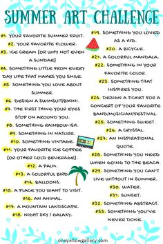 Summer Art Challenge List #artsketches