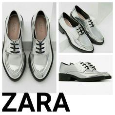 Zara NEW silver oxfords funky fresh 39 8 Brand new w tags. Woman's size 8 Zara Shoes Flats & Loafers