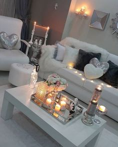 Image result for bling silver white pink living room