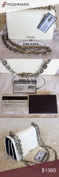 """NEW PRADA TESSUTO & SAFFIANO BICOLOR CHAIN BAG Authentic. Made in Italy. Brand new with tags. This bag has the authentic card, care cards. The bag also come with dust bag. PLEASE NO TRADE. THE PRICE IS FIRM. Petite leather design with Prada insignia and soft nylon sides Chain shoulder strap, 20.5"""" drop Magnetic flap closure Silvertone hardware One inside zip pocket One inside open pocket Three inside open compartments Fully lined Includes dust bag and authenticity card 7.75""""L x 4""""H x 2""""W…"""