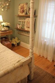This is a Peaceful room and my favorite whitewash wood and everything sage green and off white.
