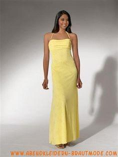 Gelbe Preiswerte Abendkleider aus Chiffon mit nackhalter
