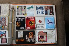 The Picinic Basket: Project Life - Hunger Games.  Love how she did flip-up cards to include thoughts about the books.