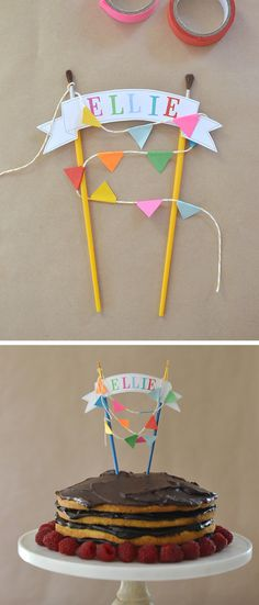 cake topper for an artist ~ paint brushes and mini garland!