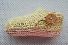 Crochet baby booties - side view