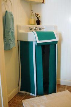 No Sew Pedestal Sink Skirt