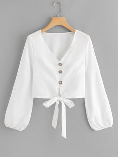 Women Boho Plain Shirt Regular Fit V Neck Long Sleeve Bishop Sleeve Placket White Single Breasted Knot Hem Blouse Teen Fashion Outfits, Hijab Fashion, Trendy Outfits, Girl Fashion, Girl Outfits, Fashion Dresses, Cute Outfits, Boho Fashion, Womens Fashion