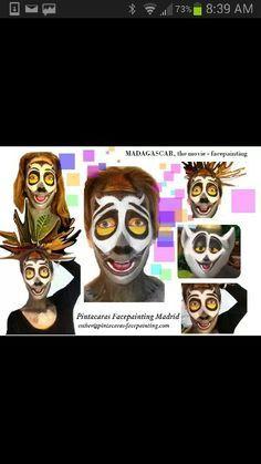 Face painting lemur