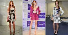 A atriz ruiva investe em minissaias, vestidos com rendas e muito salto alto para compor seu visual romântico e sensual