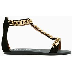 Jeffrey Campbell Shacked Chain Sandal ($135) ❤ liked on Polyvore featuring shoes, sandals, sapatos, flats, zapatos, black suede, flat shoes, leather shoes, black chunky sandals and black t strap sandals