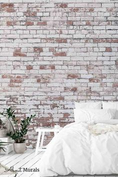 Distressed Brick Wallpaper looks stunning in this white bedroom. The realistic design adds tons of texture to walls and it's even washable. The decaying white paint over red bricks creates an industrial, loft look. Brick wallpaper from About Murals is easy to hang, removable and eco-friendly. Brick Wallpaper Bedroom, Faux Brick Wallpaper, Industrial Loft, Red Bricks, White Bedroom, Looking Stunning, White Paints, Wall Murals, Eco Friendly