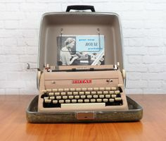 1956 Royal Quiet Deluxe Portable Typewriter with Case and Instruction Manual // Tan with Ivory Keys by:-FireflyVintage
