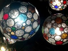 Stained glass pendant light spheres at No Mas!, handmade in Mexico