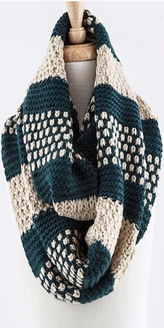 Teal & Cream Infinity Scarf