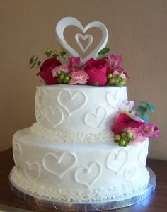 Pink Flowers and Heart Wedding Cake
