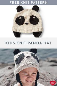 Kids Knit Panda Hat free knit pattern in Red Heart Baby Cardigan Knitting Pattern Free, Dishcloth Knitting Patterns, Baby Hats Knitting, Knitting For Kids, Knit Patterns, Free Knitting, Knit Dishcloth, Knitting Projects, Crochet Panda