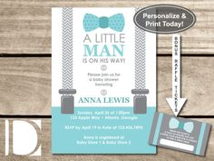 Blue Teal and Gray Little Man Baby Shower Invite Bow Tie Suspenders Chevron Motif Invitation.