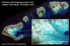Thitu Reefs, Sandy Cay. Spratlys, South China Sea. Extensive reef chopping in satellite images.