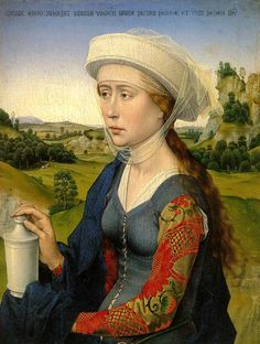 Rogier van der Weyden (Flemish painter, 1400-1464) - Magdalen Right panel of the Braque triptych.  This may very well be the finest Flemish 15th century portrait existing. Please note Mary's elegant posture, her splendid clothes and delicate face. In her hand is her usual attribute; the jar with ointment with which she has anointed Jesus' feet.  The text in the top refers to that act as described inJohn 12.