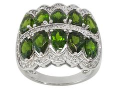 mozambique garnet russian chrome diopside white topaz sterling silver ring