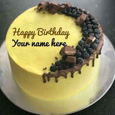 Yellow Birthday Wishes Cake With Name For Sister Get Your On Yummy CakeCake Chocolate And Blueberry