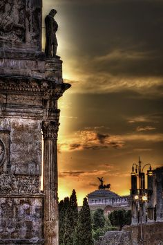 Sunset at Colosseum Square, Rome, province of Rome Lazio
