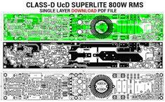 Discrete Power Amplifier Class-D UcD Superlite - Single Layer PCB Home Theater Amplifier, Class D Amplifier, Stereo Amplifier, Conductive Materials, Power Supply Circuit, Electric Circuit, Subwoofer Speaker, Easy Guitar, Circuit Diagram