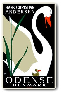 Vintage travel poster for Odense, the birthplace of H.C. Andersen in Denmark. The Ugly Duckling was one of his fairy tales. Old Posters, Retro Poster, Vintage Travel Posters, Retro Ads, Odense Denmark, Copenhagen Denmark, Denmark Travel, Denmark Tourism, Plakat Design