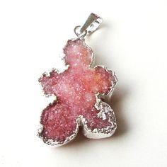 Pink Leaf Shaped  Edged in Silver Druzy Stone by BijiBijoux, $19.00