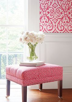 Patara Ikat #wallpaper in #fuschia and Westover Ottomans from #ThibautFineFurniture in Pongo #woven #fabric in #pink and #white from the Caravan collection. #Thibaut