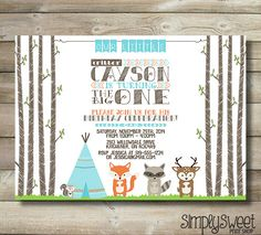 Little Critter Birthday Party Invitation First One 1st Woodland Animal Camp Tent Teepee Fox Raccoon Squirrel Deer Aqua Orange Brown Boy Girl